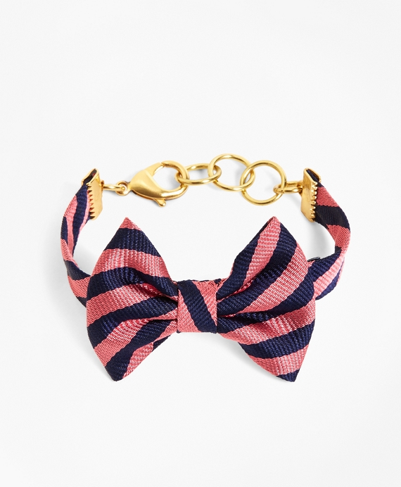 Kiel James Patrick Navy and Pink BB#5 Stripe Bow Tie Bracelet Navy-Pink