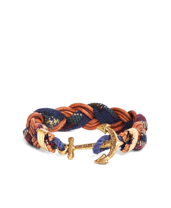 Kiel James Patrick Wool Signature Tartan and Leather Braid Bracelet Navy-Red