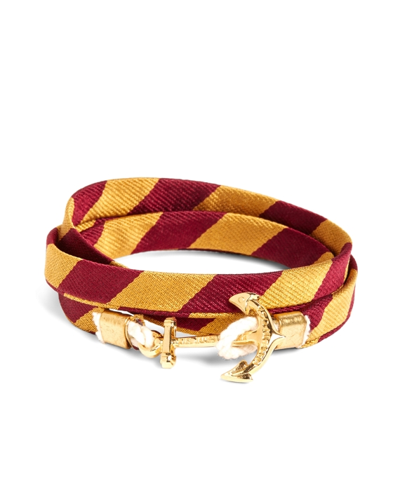 Kiel James Patrick Gold and Burgundy BB#4 Stripe Wrap Bracelet Gold-Burgundy