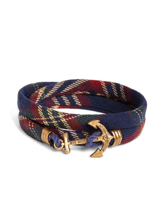 Kiel James Patrick  Signature Tartan Wrap Bracelet Navy-Red