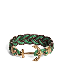 Kiel James Patrick Green and Brown Leather Braided Bracelet