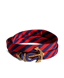 Kiel James Patrick Navy and Red BB#5 Stripe Wrap Bracelet