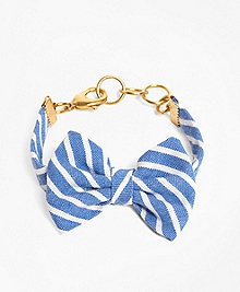 Kiel James Patrick Light Blue Stripe Bow Bracelet