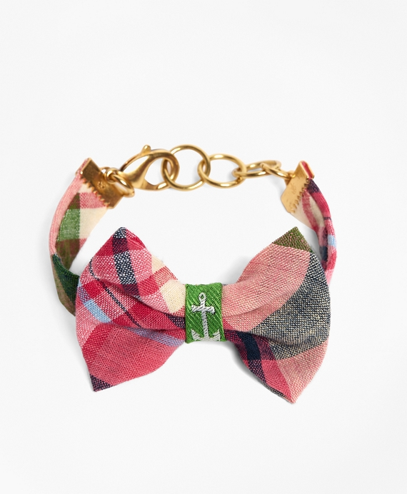 Kiel James Patrick Pink and Green Madras Bow Bracelet Pink-Green