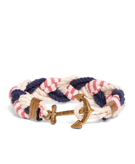 Kiel James Patrick Navy, White and Red Braided Bracelet
