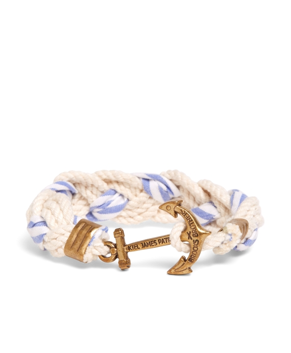 Kiel James Patrick White and Light Blue Braided Bracelet White-Light Blue