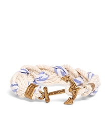 Kiel James Patrick White and Light Blue Braided Bracelet
