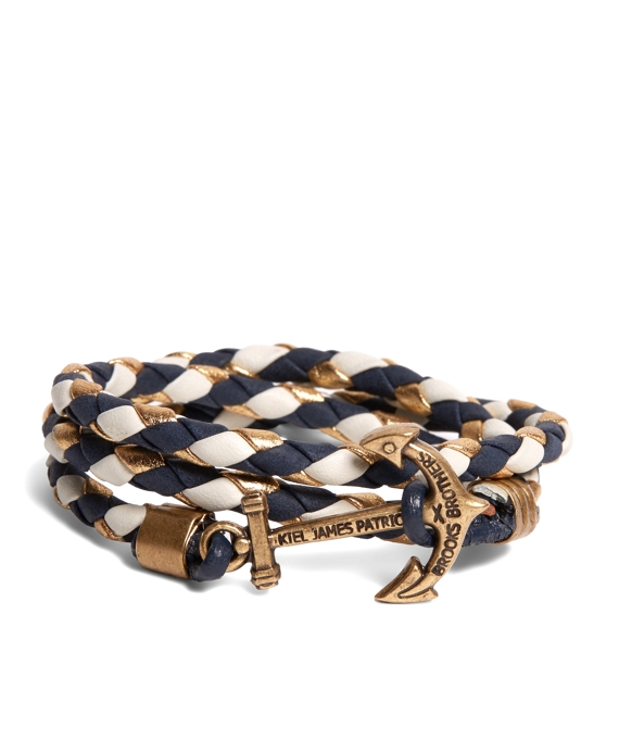 Kiel James Patrick Navy Leather Wrap Bracelet Navy