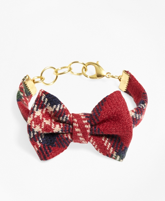 Kiel James Patrick Tartan Bow Tie Bracelet Red