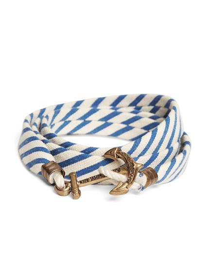 Kiel James Patrick Blue and White Seersucker Lanyard Hitch Cord Bracelet