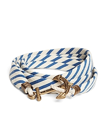 Kiel James Patrick Blue and White Seersucker Lanyard Hitch Cord Bracelet