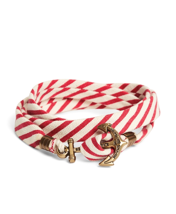 Kiel James Patrick Red and White Seersucker Lanyard Hitch Cord Bracelet Red-White