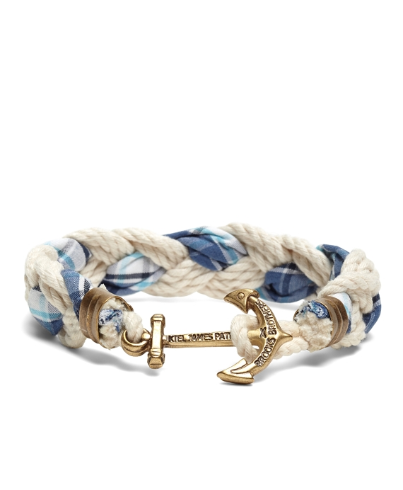 Kiel James Patrick Seersucker Plaid Braided Bracelet Navy