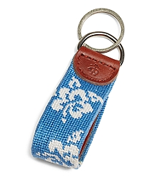 Hibiscus Needlepoint Key Fob