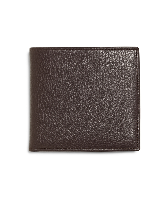 Pebble Leather Euro Wallet with Coin Case Brown