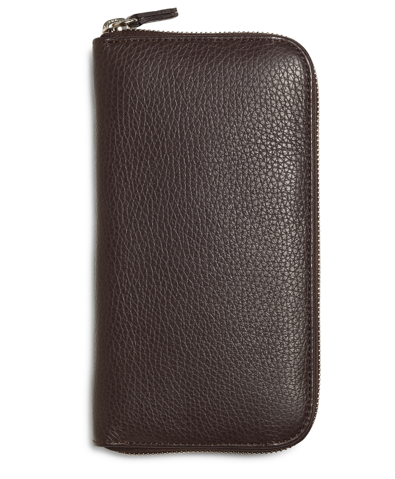 Pebble Leather Travel Wallet Brown