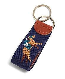 Horse Racing Needlepoint Key Fob