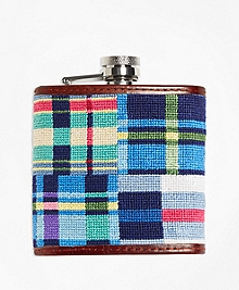 Patchwork Madras Needlepoint Flask