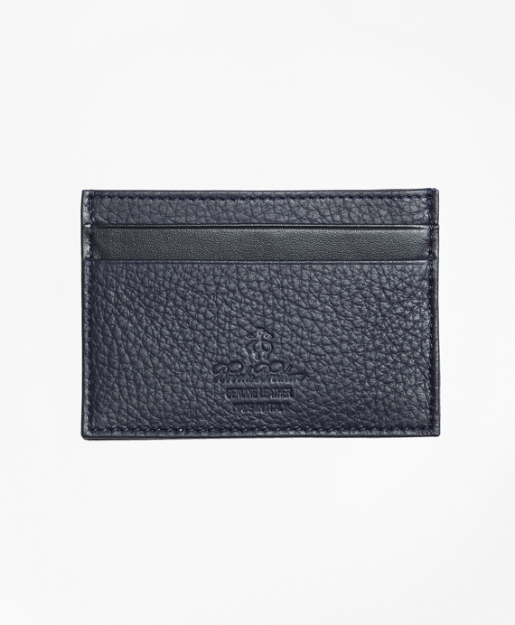 Pebble Leather Card Case Navy
