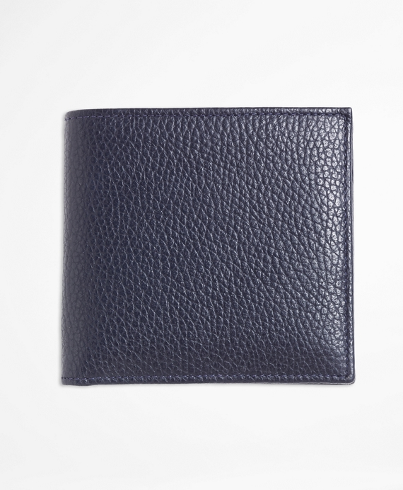 Pebble Leather Euro Wallet with Coin Case Navy