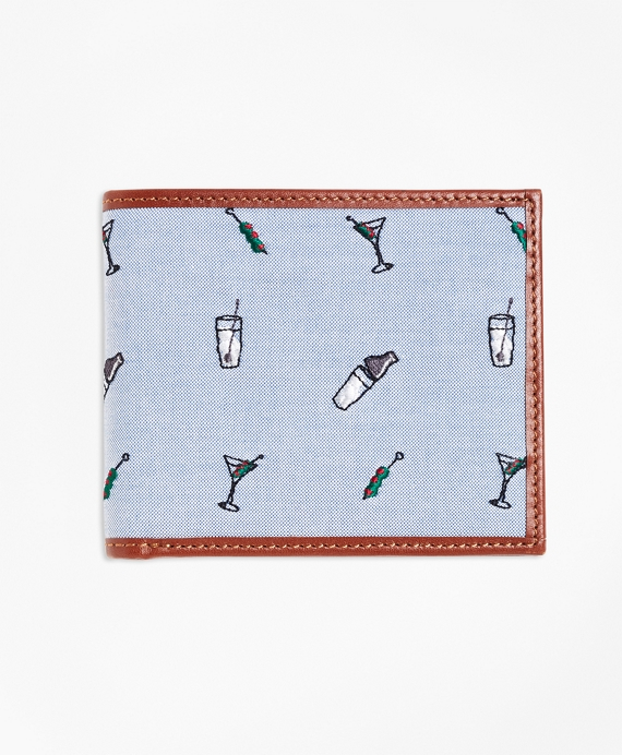 Martini Embroidered Wallet Blue