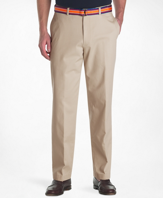 Hudson Fit Plain-Front Lightweight Advantage Chinos® Khaki