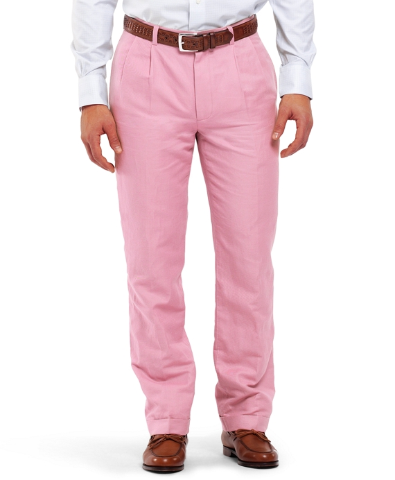 Thompson Pleat-Front Linen and Cotton Chinos Pink