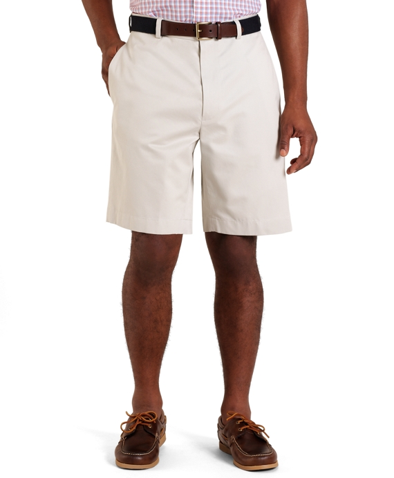 Plain-Front Lightweight Advantage Shorts Stone