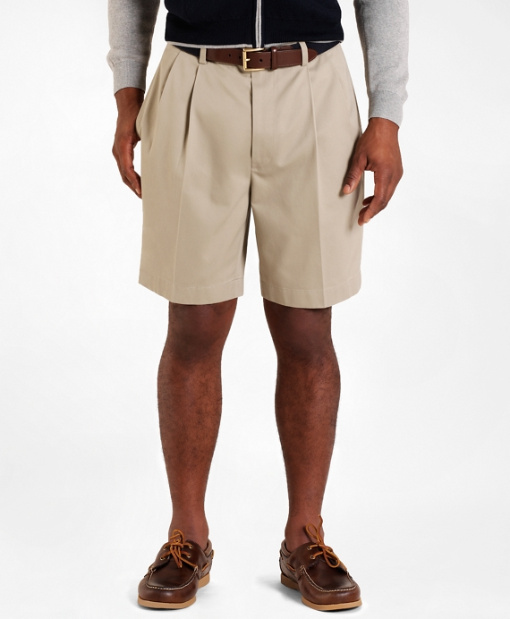 Pleat-Front Lightweight Advantage Shorts Khaki