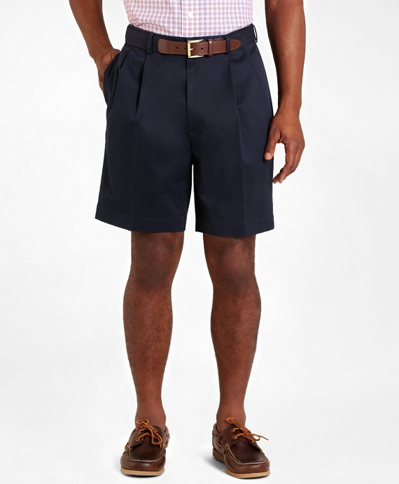 Pleat-Front Lightweight Advantage Shorts Navy