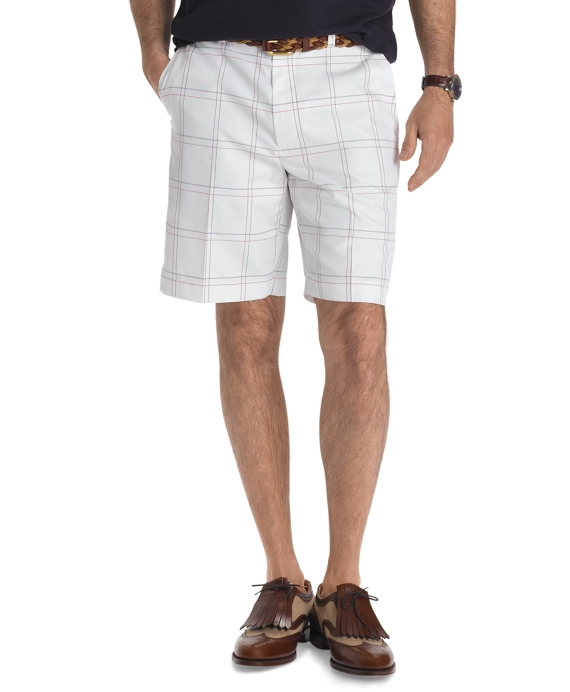 St Andrews Links Plain-Front Windowpane Golf Shorts White