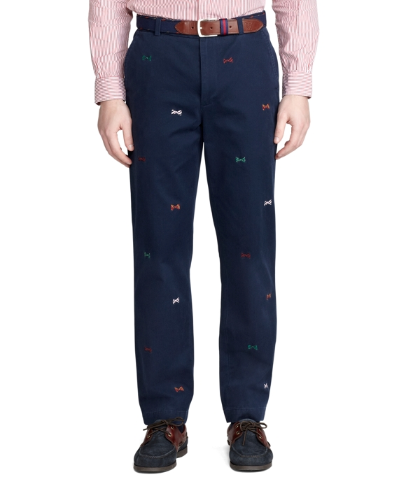 Clark Vintage Bow Tie Embroidered Chinos Navy