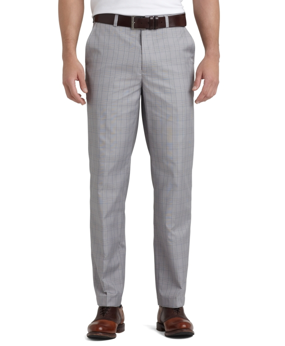 St Andrews Links Plain-Front Mini Houndstooth Pants Pearl Blue