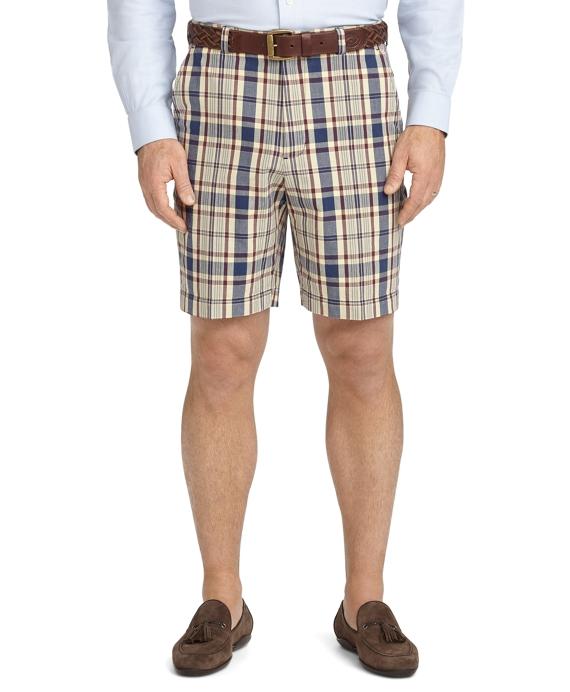 Plain-Front Madras Shorts Plum