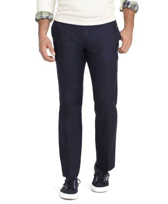 Milano Fit Plain-Front Linen and Cotton Pants Dark Blue