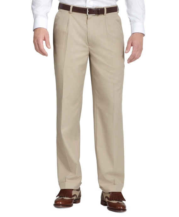 St Andrews Links Pleat-Front Golf Pants Khaki