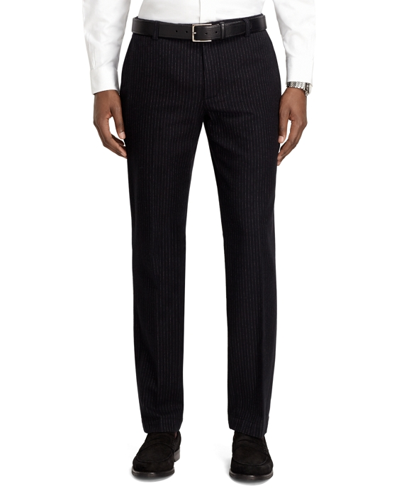 Milano Fit Pinstripe Pants Black-White