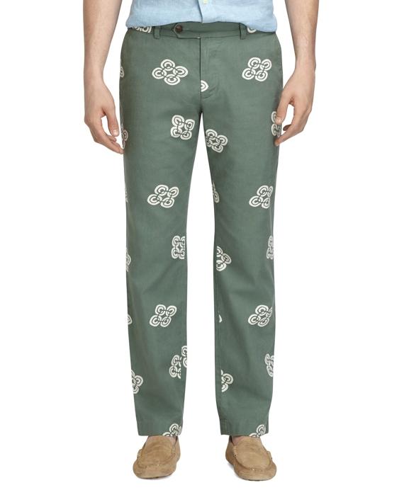 Milano Fit Linen and Cotton Vintage Print Pants Sage