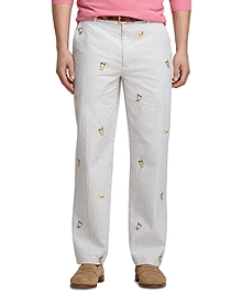 Clark Fit Derby Embroidered Seersucker Pants