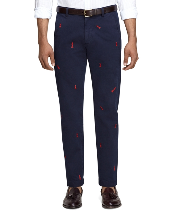 Chess Embroidered Chinos Navy