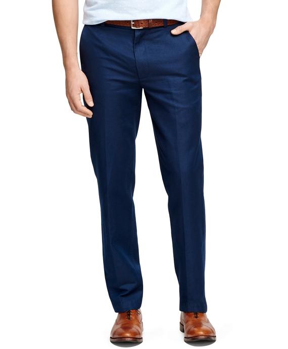 Men's Clark Fit Linen and Cotton Plain-Front Pants | Brooks Brothers