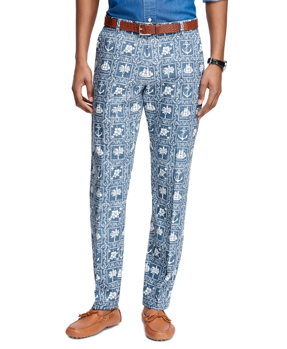 Milano Fit Nautical Print Pants Blue