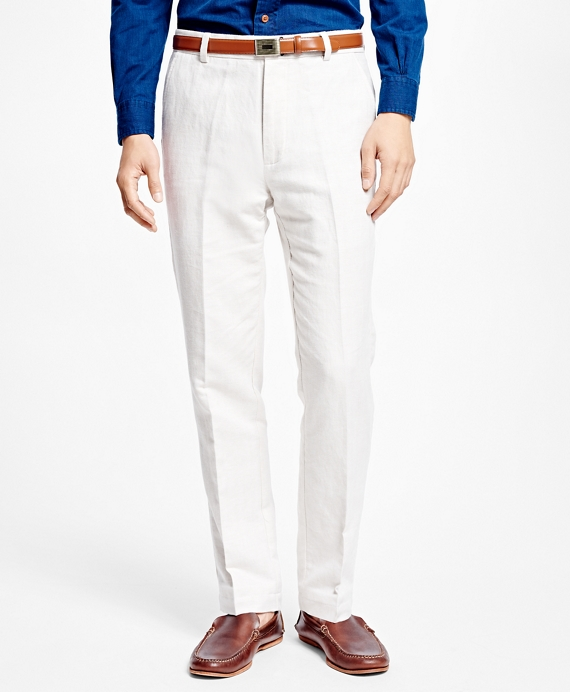 Clark Fit Linen and Cotton Herringbone Pants Oatmeal