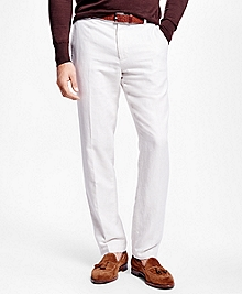 Milano Fit Linen and Cotton Herringbone Pants