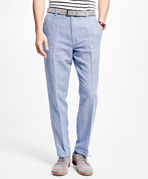 Clark Fit Linen and Cotton Glen Plaid Pants - Brooks Brothers