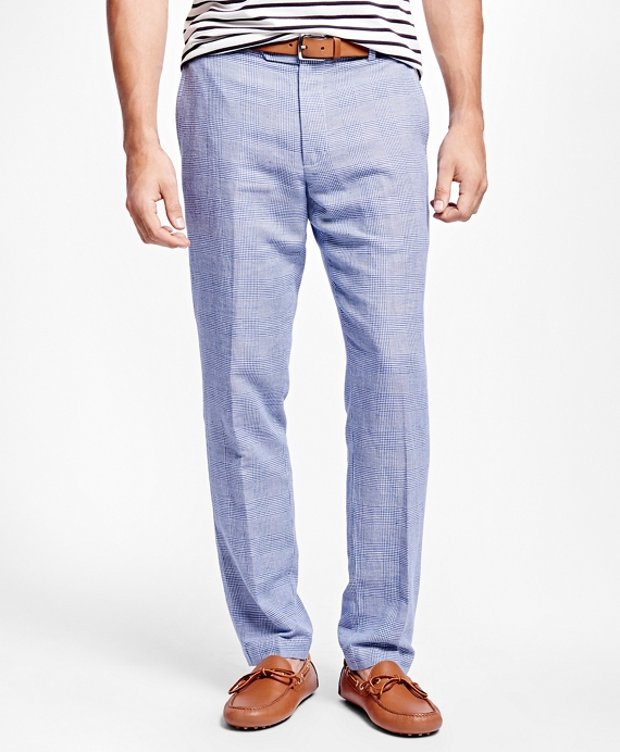 Milano Fit Linen and Cotton Glen Plaid Pants - Brooks Brothers