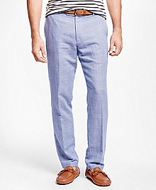 Milano Fit Linen and Cotton Glen Plaid Pants