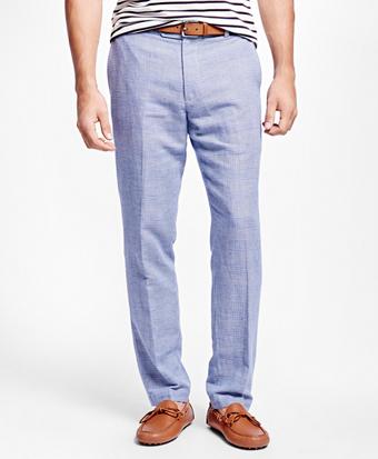 Milano Fit Linen and Cotton Glen Plaid Pants