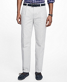 Milano Fit Heathered Pleat-Front Pants