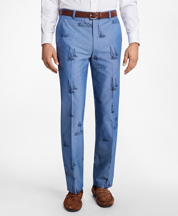 Clark Fit Chambray Boat Print Pants
